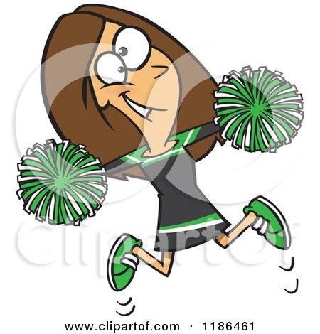 Cartoon of a Happy Cheerleader Jumping with Green Pom Poms - Royalty Free Vector Clipart by toonaday