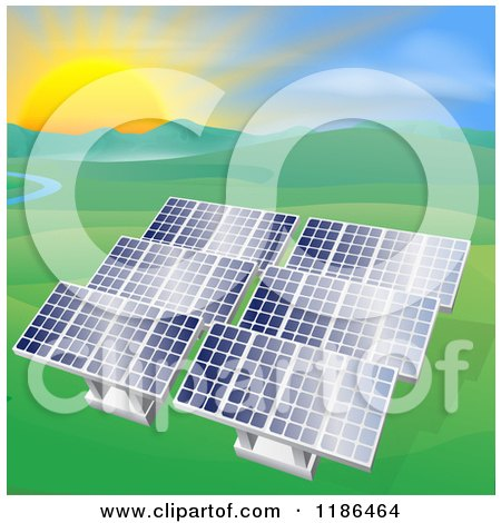 Clipart of Solar Panels in a Hilly Landscape with a Stream and Sunset - Royalty Free Vector Illustration by AtStockIllustration