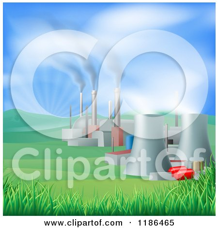 Clipart of a Power Plant with Smoke Stacks and Nuclear Structures - Royalty Free Vector Illustration by AtStockIllustration