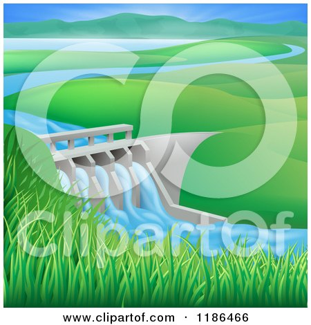 Clipart of a Hydroelectric in a Hilly Landscape - Royalty Free Vector Illustration by AtStockIllustration