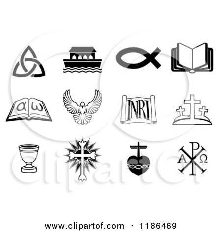 Clipart of Black and White Christian Icons - Royalty Free Vector Illustration by AtStockIllustration