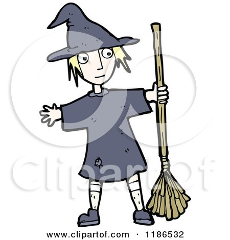 Cartoon of a Girl Dressed As a Witch - Royalty Free Vector Illustration by lineartestpilot
