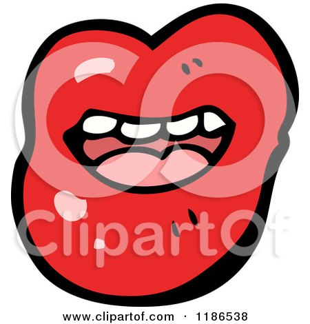 Cartoon of a Red Lipped Mouth - Royalty Free Vector Illustration by lineartestpilot