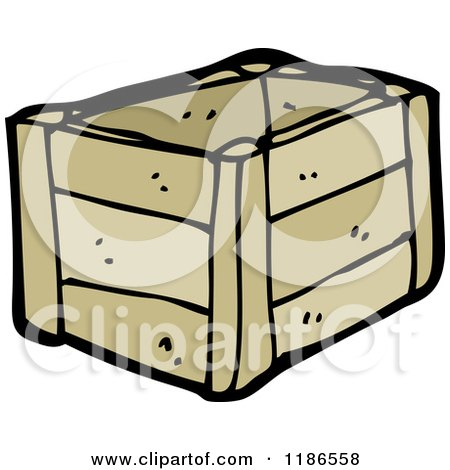 Cartoon of a Wodden Crate - Royalty Free Vector Illustration by lineartestpilot