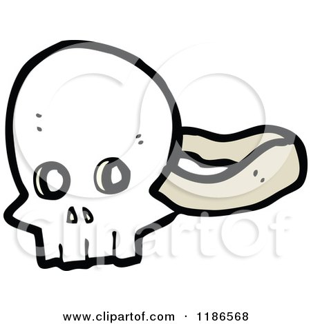 Cartoon of a Skull Mask - Royalty Free Vector Illustration by lineartestpilot
