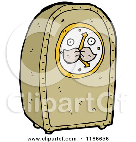 Cartoon of a Grandfather Clock Speaking - Royalty Free Vector ...