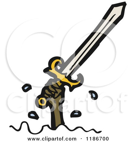 Cartoon of a Sword - Royalty Free Vector Illustration by lineartestpilot
