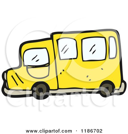 Cartoon of a Yellow Bus - Royalty Free Vector Illustration by lineartestpilot