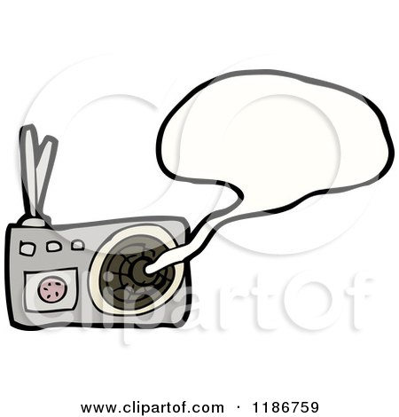 Cartoon of a Radio Speaking - Royalty Free Vector Illustration by lineartestpilot