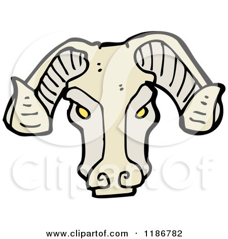 Cartoon of a Ram's Head Idol - Royalty Free Vector Illustration by lineartestpilot