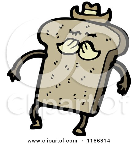Cartoon of a Piece of Bread Dressed As a Cowboy - Royalty Free Vector Illustration by lineartestpilot