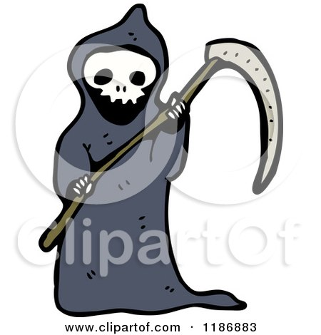 Cartoon of a Child Dressed in a Grim Reaper Costume - Royalty Free Vector Illustration by lineartestpilot