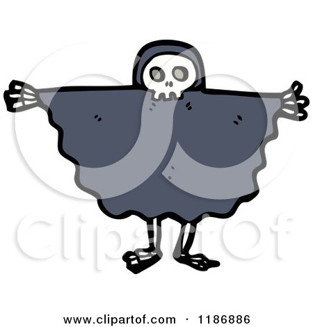 Cartoon of a Child Dressed in a Skull Costume - Royalty Free Vector Illustration by lineartestpilot
