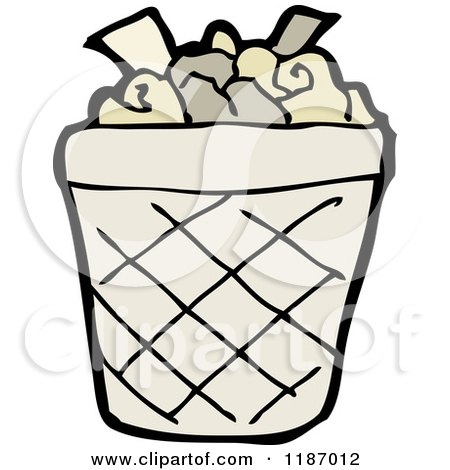 Cartoon of a Wastebasket - Royalty Free Vector Illustration by ...
