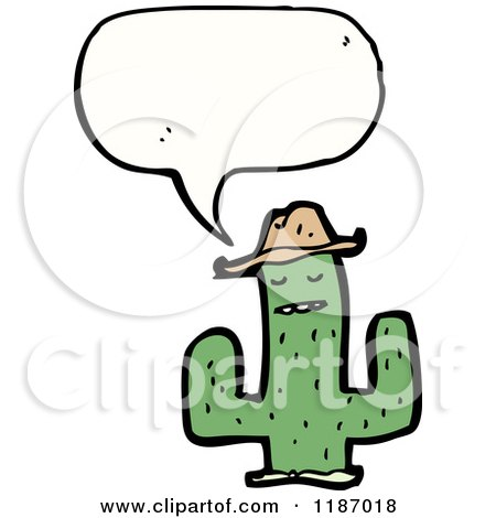 Cartoon of a Saguaro Cactus Wearing a Hat and Speaking - Royalty