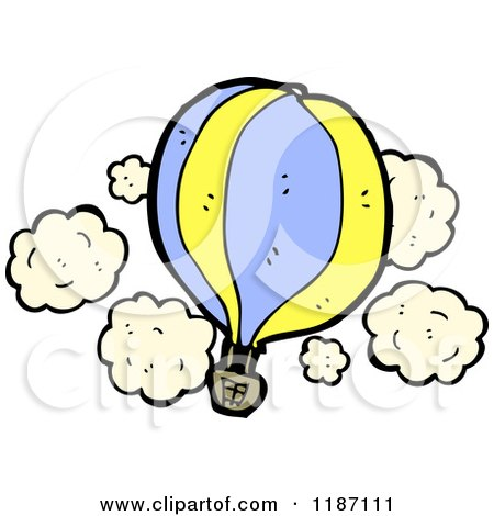 Cartoon of a Flying Hot Air Balloon - Royalty Free Vector Illustration by lineartestpilot