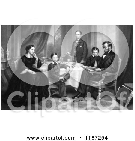 Illustration of Willie, Robert, Tad, Mr and Mrs Abraham Lincoln Sitting Around a Table in 1861 - Royalty Free Historical Clipart by Picsburg