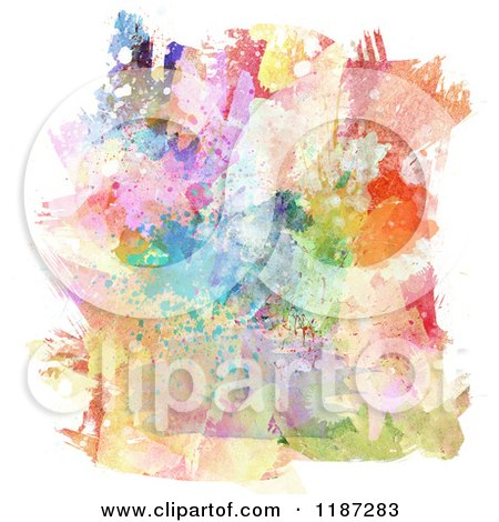 Clipart of a Background of Splattered Watercolour Paints - Royalty Free CGI Illustration by KJ Pargeter