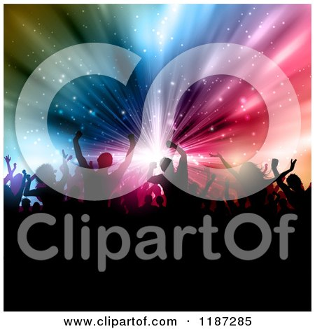 Clipart of a Crowd of Silhouetted People over a Burst of Colorful Lights - Royalty Free Vector Illustration by KJ Pargeter