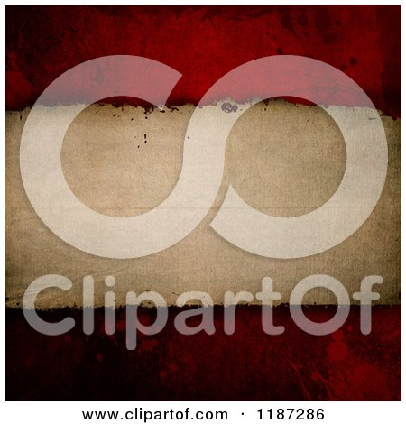Clipart of a Background of Vintage Paper over Red Grunge - Royalty Free CGI Illustration by KJ Pargeter