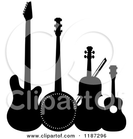 Cartoon of a Black and White Electric Guitar, Banjo, Violin or Cello and Ukulele - Royalty Free Vector Clipart by Maria Bell