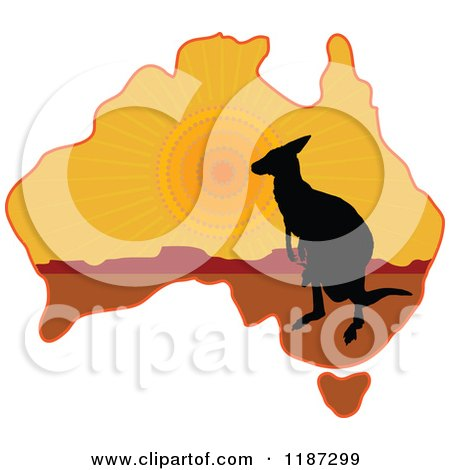Cartoon Of A Silhouetted Australian Kangaroo And Joey On A