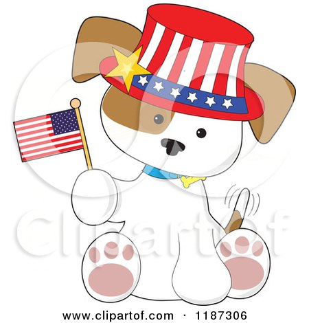 Cartoon of a Patriotic Puppy Sitting, Wearing a Hat and Holding an American Flag - Royalty Free Vector Clipart by Maria Bell