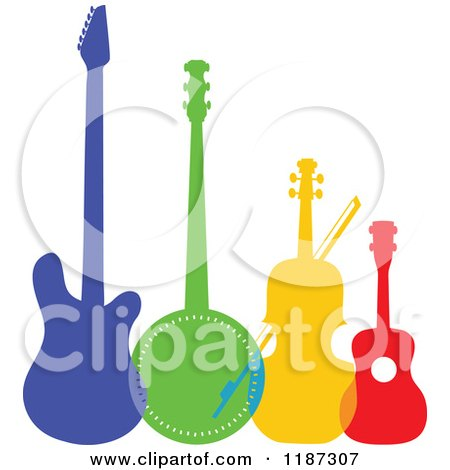 Cartoon of a Colorful Electric Guitar, Banjo, Violin or Cello and Ukulele - Royalty Free Vector Clipart by Maria Bell