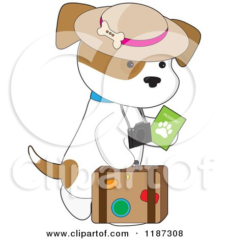 Cartoon of a Traveler Puppy with a Passport, Camera and Suitcase - Royalty Free Vector Clipart by Maria Bell