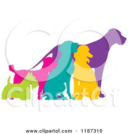 Cartoon of Colorful Silhouetted Scottie, German Pointer, Poodle, Mixed Breed and Great Dane Dogs - Royalty Free Vector Clipart by Maria Bell