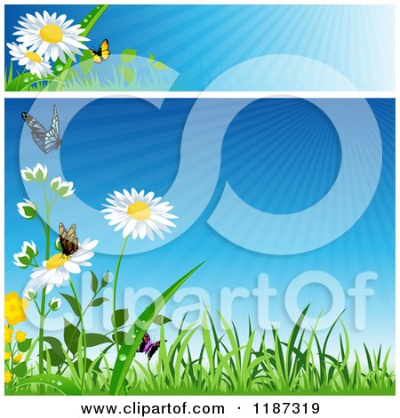 Clipart of a Spring Website Banner and Background with Grass Flowers and Butterflies - Royalty Free Vector Illustration by dero