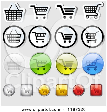 Clipart of Different Styled Shopping Cart Website Icons - Royalty Free Vector Illustration by dero