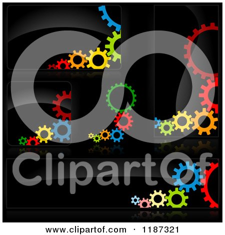 Clipart of Colorful Gears on Black Design Elements - Royalty Free Vector Illustration by dero
