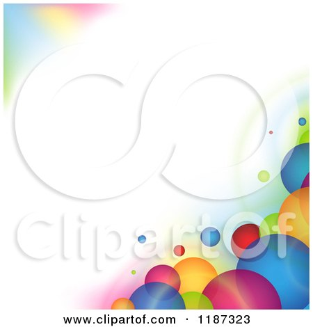 Clipart of a Background of Colorful Bubbles Around Copyspace - Royalty Free Vector Illustration by dero