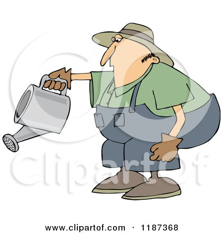 Cartoon of a Chubby White Man Bending over to Water a Garden - Royalty Free Vector Clipart by djart