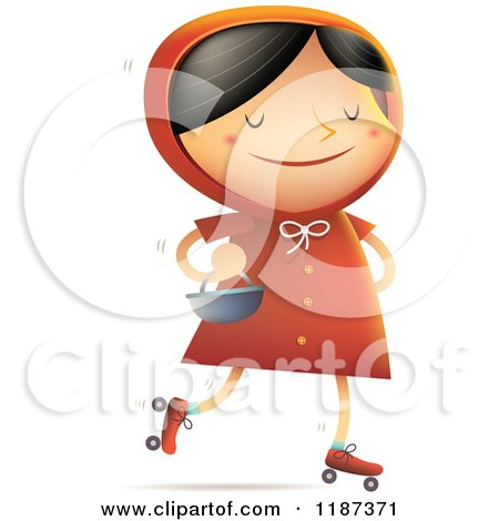 Cartoon of Little Red Riding Hood Roller Skating with a Basket on Her Arm - Royalty Free Vector Clipart by Qiun