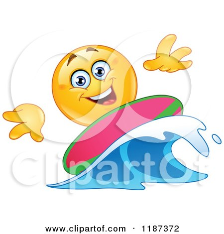 Cartoon of a Yellow Emoticon Smiley Surfer Riding a Wave - Royalty Free Vector Clipart by yayayoyo