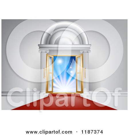 Clipart of a Red Carpet Leading to an Ornate Doorway with Open Doors and Bright Lights - Royalty Free Vector Illustration by AtStockIllustration