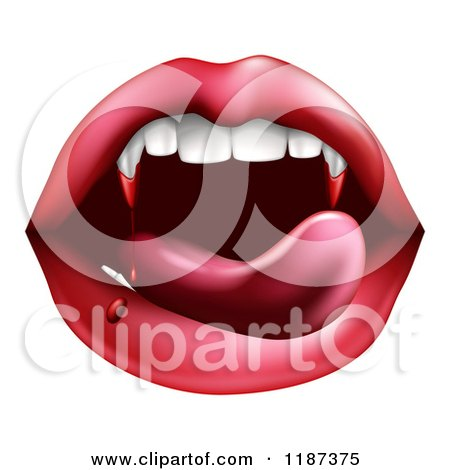 Clipart of a Vampiress Mouth with Bloody Fangs - Royalty Free Vector Illustration by AtStockIllustration