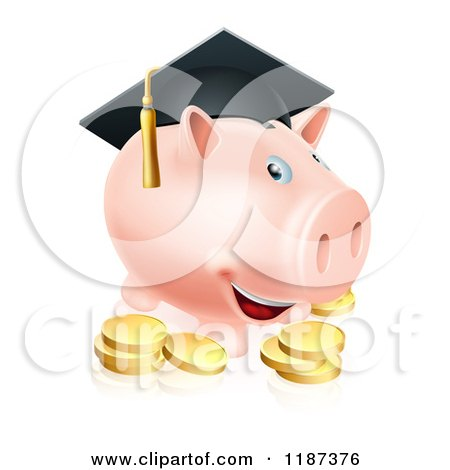 Cartoon of a Graduate Piggy Bank with Gold Coins - Royalty Free Vector Clipart by AtStockIllustration