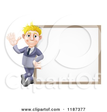 Cartoon of a Friendly Blond Businessman Waving by a White Board - Royalty Free Vector Clipart by AtStockIllustration