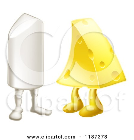 Cartoon of Chalk and Cheese Mascots Attracted to Each Other - Royalty Free Vector Clipart by AtStockIllustration
