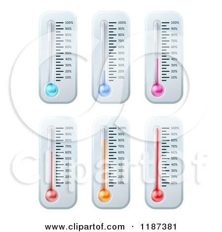 Colorful Thermometer with Goal Percent Marks Posters, Art Prints