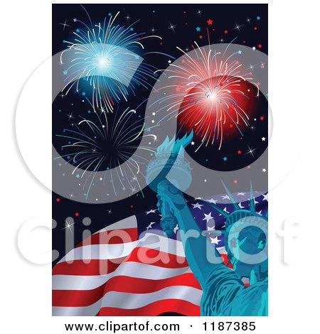 Cartoon of Fourth of July Fireworks with the Statue of Liberty and American Flag - Royalty Free Vector Clipart by Pushkin