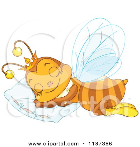 Cartoon of a Cute Queen Bee Sleeping on a Pillow - Royalty Free Vector Clipart by Pushkin