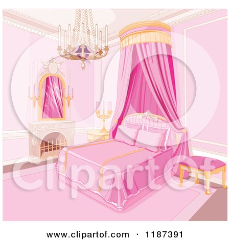 Preview Clipart Pink Princess Bedroom With A Fireplace Chandelier And Bed Curtain