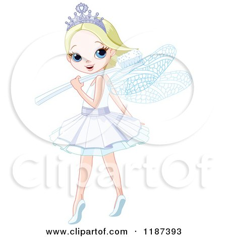 Cartoon of a Happy Blond Tooth Fairy Girl Looking over Her Shoulder and Toothbrush Wand - Royalty Free Vector Clipart by Pushkin