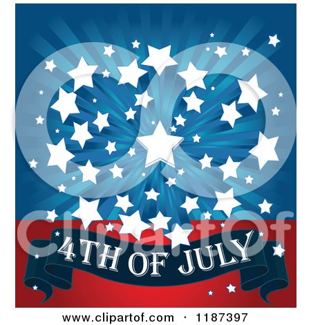 Cartoon of a Burst of White Stars over Blue Rays and a 4th of July Banner on Red - Royalty Free Vector Clipart by Pushkin