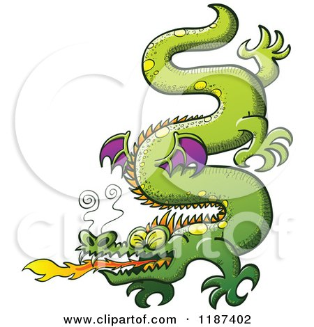 Cartoon of a Green Serpent like Dragon Breathing Fire - Royalty Free Vector Clipart by Zooco