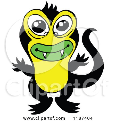 Cartoon of a Cute Black and Yellow Japanese Triton Monster - Royalty Free Vector Clipart by Zooco